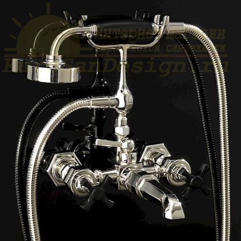 Смеситель для ванны и душа Devon&Devon Jubilee Black Cross adjBCS34 ФОТО