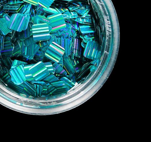 Камифубуки для дизайна ногтей, лазерные, цвет бирюзовый