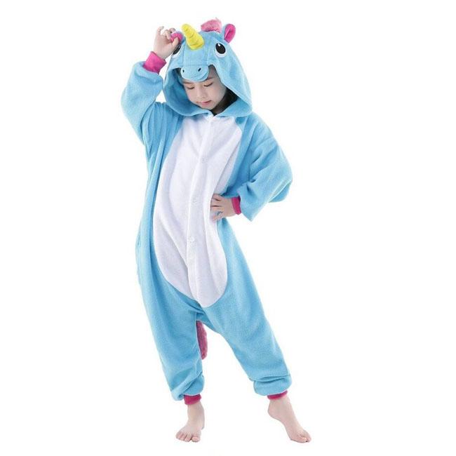 Пижама Кигуруми Детская Единорог Голубой_02