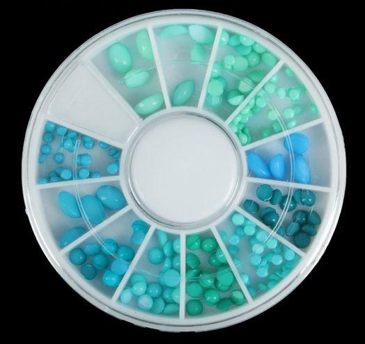 """Декор для ногтей """"Морская волна"""", карусель на 12 ячеек, цвет зелёный/голубой"""