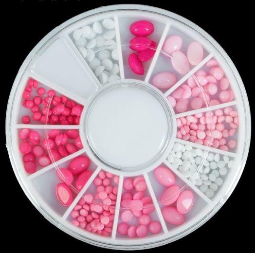 """Декоративная галька для ногтей """"Нежность"""", карусель на 12 ячеек, цвет белый/розовый"""
