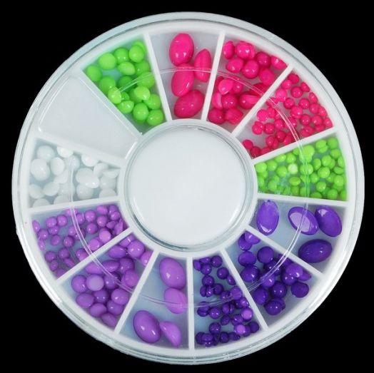 """Декоративная галька для ногтей """"Ягодный микс"""", карусель на 12 ячеек, разноцветный"""
