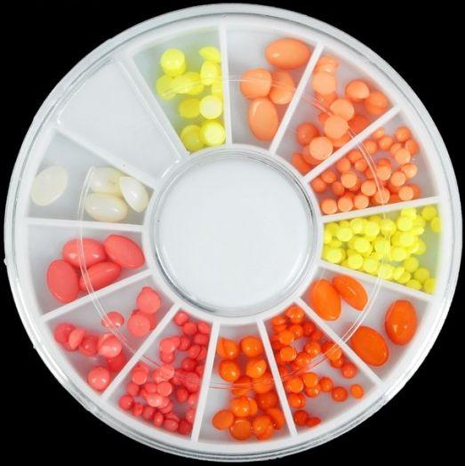 """Декоративная галька для ногтей """"Цитрус"""", карусель на 12 ячеек, цвет жёлтый/оранжевый/морковный"""