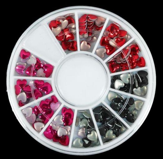 """Заклёпки для ногтей """"Сердечки"""", карусель на 12 ячеек, цвет МИКС"""