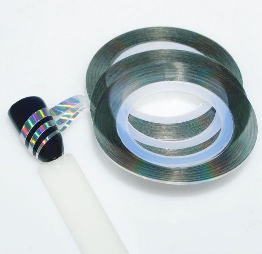 """Декоративная лента-скотч для дизайна ногтей """"Голография"""", 1/2/3мм, 18м, 3шт, цвет серебряный"""