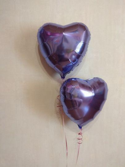 Сердце лиловое шар фольгированный с гелием