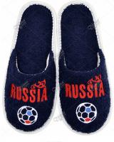 Махровые тапки с вышивкой Россия вперед