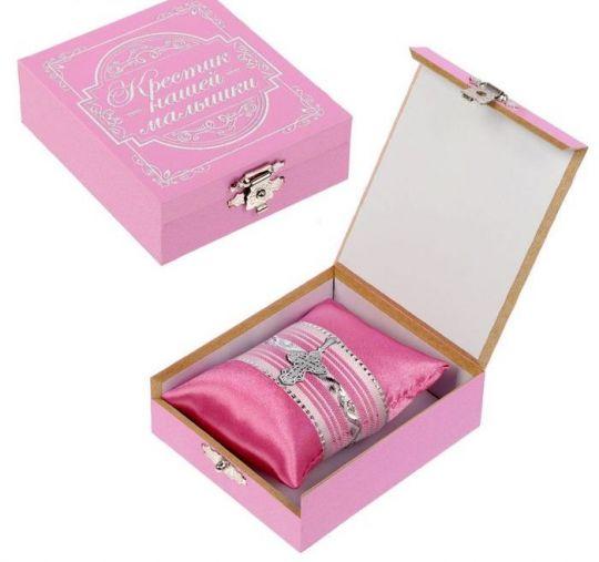 Шкатулка для хранения крестика розовая