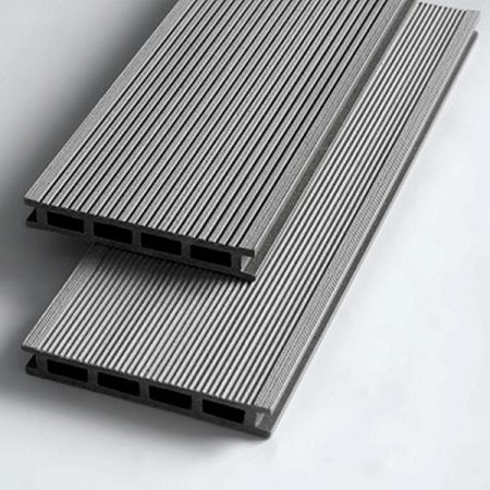 Террасная доска из ДПК 140*22 мм. Серый, брашинг. Экодэк.