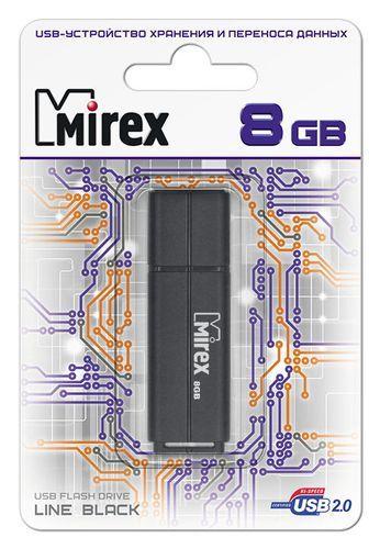 USB накопитель  8 ГБ  Mirex LINE BLACK