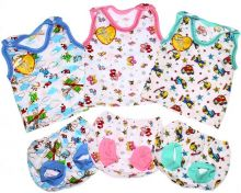 """Комплект: майка на кнопках, трусы под памперс C-KM048(2)-SU (супрем)   Размеры 68-74-80   Цвет для мальчиков, девочек   Код товара 01645   Оптом от производителя """"Мамин Малыш"""""""