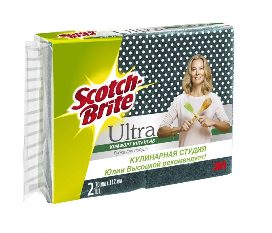 Губка д/посуды Ultra Комфорт Интенсив 3М Scotch-Brite (Скотч Брайт) 70х112мм 2 шт