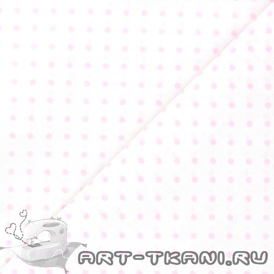 Китайский хлопок 0,5 м - Розовый горошек на белом