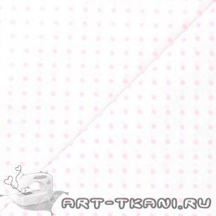 Ткань 50х40 Розовый горошек на белом