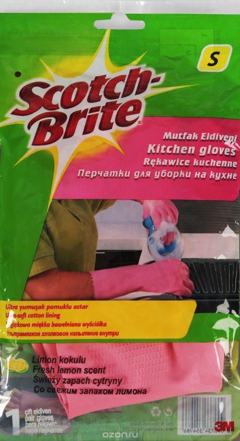 Перчатки хозяйственные для кухни 3М Scotch-Brite (Скотч Брайт) размер S, 1 пара