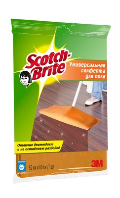 Салфетка д/пола 3М Scotch-Brite (Скотч Брайт) 500х600мм 1 шт, оранжевая