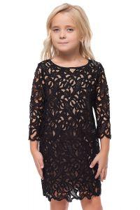 ДИСКОНТ VILATTE F22.136 Платье для девочки черный