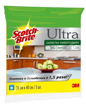 Салфетка универсальная УЛЬТРА 3М Scotch-Brite (Скотч Брайт) 380х400мм 3 шт