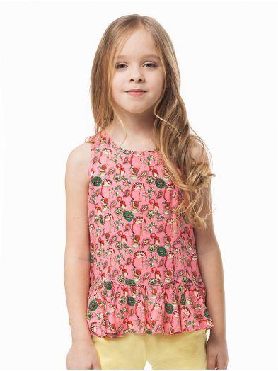ДИСКОНТ VILATTE F29.077 Блузка для девочки розовый фламинго