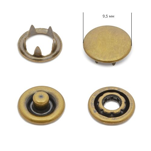 Кнопка трикотажная 9,5мм Антик (закрытая) NewStar нерж. Упаковка - 1440шт