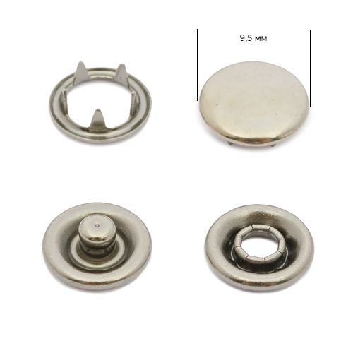 Кнопка трикотажная 9,5мм Тёмный никель (закрытая) NewStar нерж. Упаковка - 1440шт