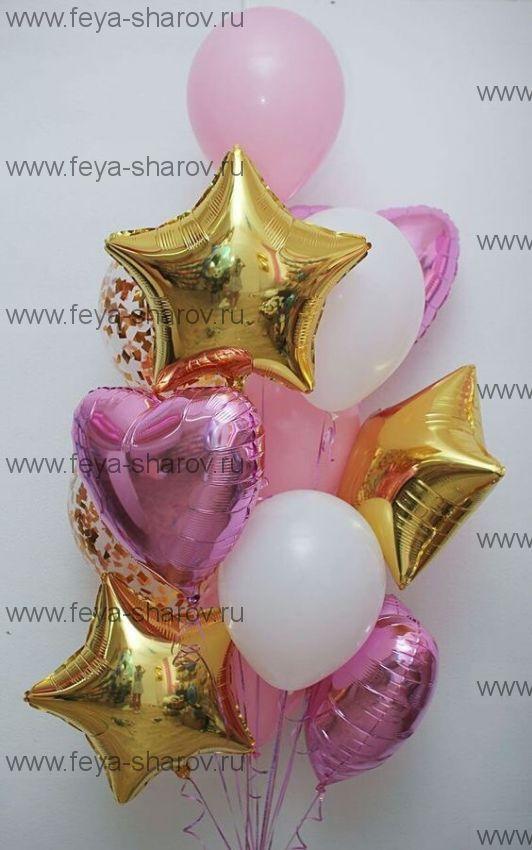 Фонтан шаров Розово-золотой