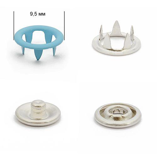 Кнопка трикотажная 9,5мм (кольцо) № 198 NewStar эмаль нерж цв. голубой Упаковка-1440шт