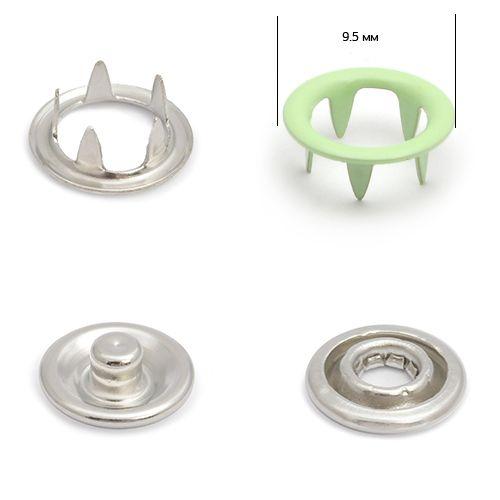 Кнопка трикотажная 9,5мм №246 (кольцо) NewStar нерж эмаль цв. зеленый светлый Упаковка-1440шт