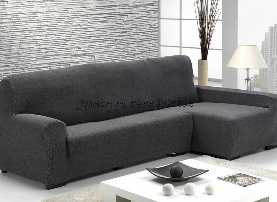 """Чехол на угловой диван без спинки левосторонний """"Серый"""""""