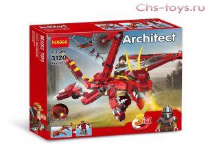 Конструктор Decool Architect Красный дракон 3 в 1 3120 (Аналог LEGO) 486 дет