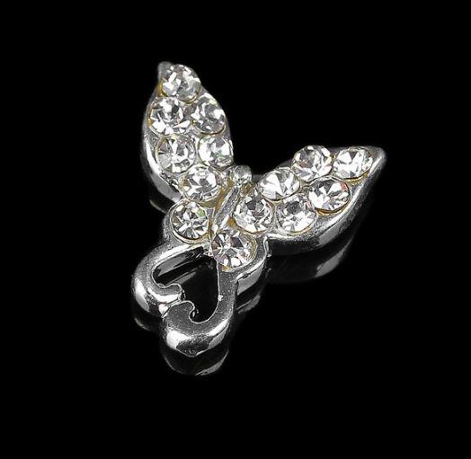 """Декор для ногтей """"Бабочка с сердцем"""", цвет серебристый"""