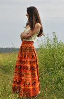 Купить длинную индийскую юбку с запахом