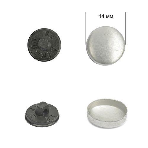 Заготовка для обтяжки пуговиц тканью №22 (14мм) Пластиковая ножка (чёрная)