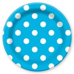 Тарелки голубые в горох