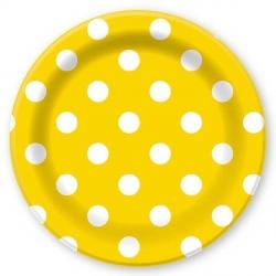 Тарелки желтые в горох