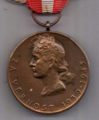 медаль 1939-1945 г. AUNC За верность. Чехословакия
