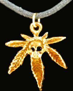 Медальон металлический Каннабис с черепом