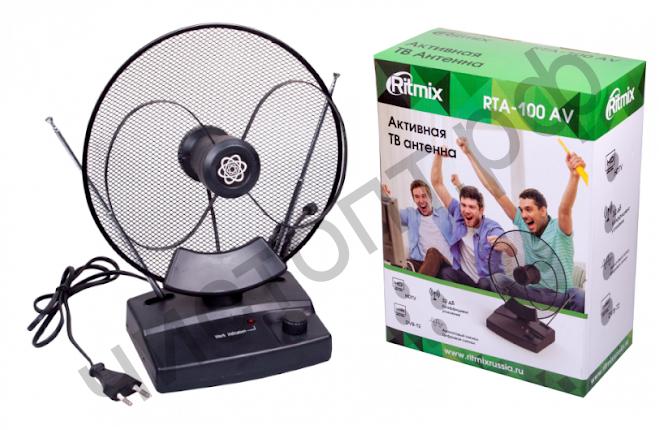 Антенна RITMIX RTA-100, комнат, актив. 32 дБ VHF:87.5-230 МГц ; UHF:470-862 МГц; FM:  87,5-108 МГц. Соп 75 Ом. Длина антенн: 5-60 см. кабел: 1 м.  кабел питан: 1,25 м. AC 220В