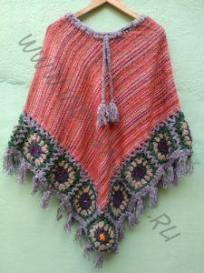 Треугольное тёплое непальское пончо красного цвета