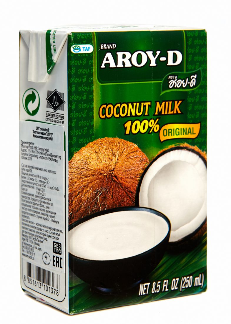 Кокосовое молоко Aroy D 60% кокоса, 17-19% жирности - 250 мл - тетрапак