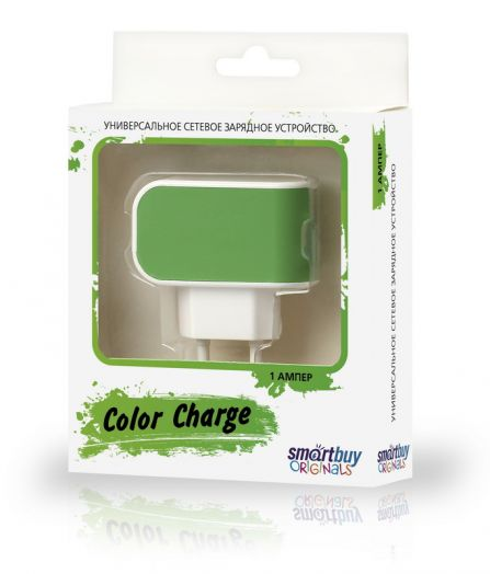 Вилка USB SmartBuy COLOR CHARGE, 2А, универсальное, 1хUSB, зелёное