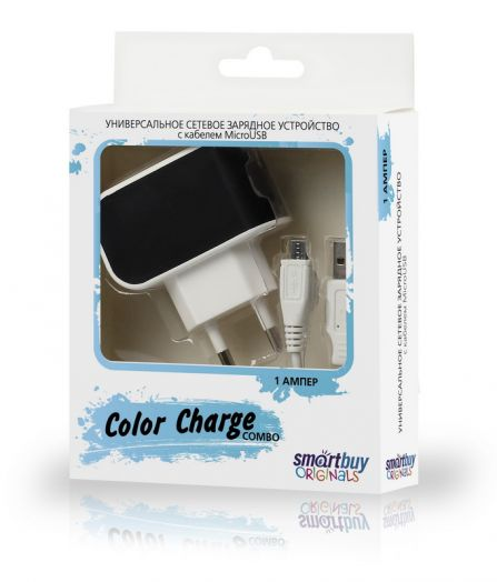 СЗУ SmartBuy COLOR CHARGE Combo, 2А, USB + кабель MicroUSB, черное