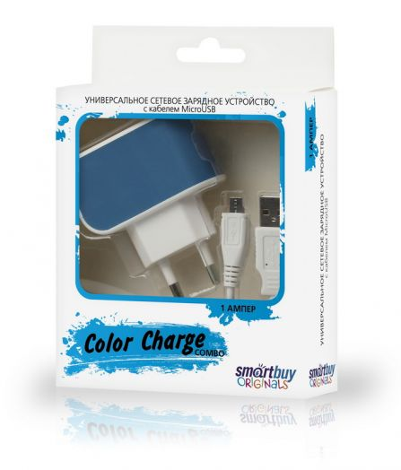 СЗУ SmartBuy COLOR CHARGE Combo, 2А, USB + кабель MicroUSB, синее