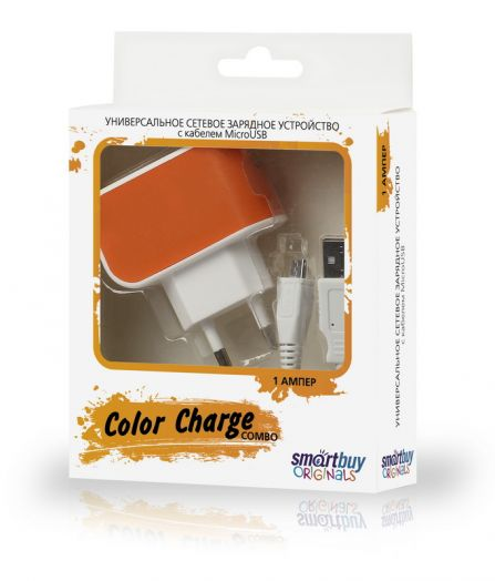 СЗУ SmartBuy COLOR CHARGE Combo, 2А, USB + кабель MicroUSB, оранжевое