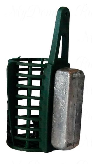 Кормушка фидерная пластиковая с дном, круглая со съемным грузом 80 гр