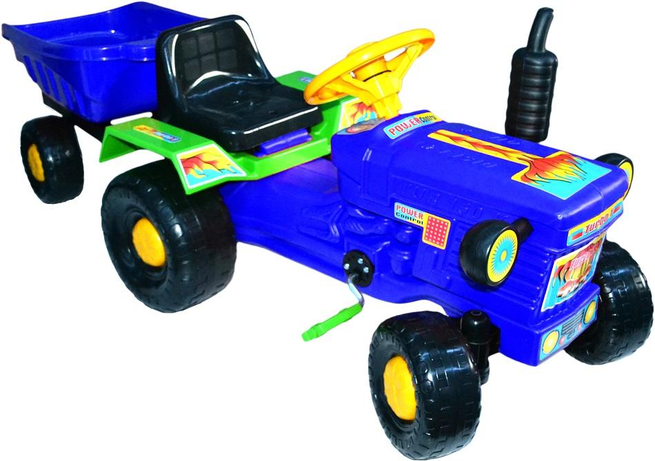 Трактор синий на педалях + прицеп синий