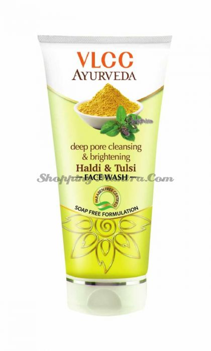 Гель для умывания Куркума Тулси VLCC Ayurveda Deep Pore Cleansing Haldi and Tulsi Facewash