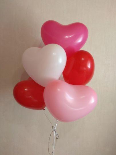 Ассорти сердечек 4 цвета латексные шары с гелием