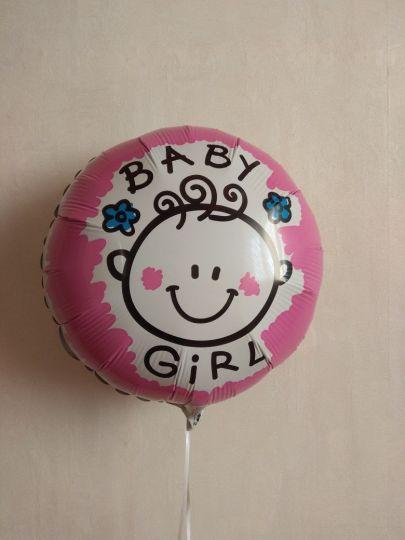 Круг на выписку девочки Улыбка малышки шар фольгированный с гелием