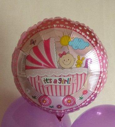 Колясочка девочка шар фольгированный с гелием